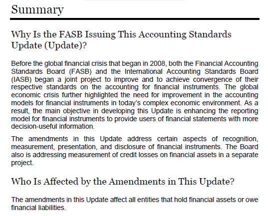 FASB 2016-01 Financial Instruments