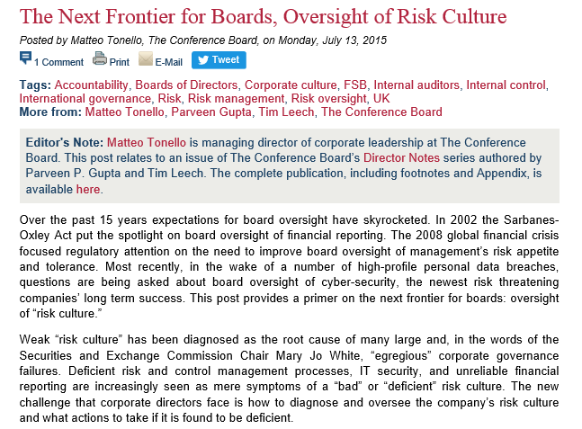 The Next Frontier for Boards, Oversight of Risk Culture