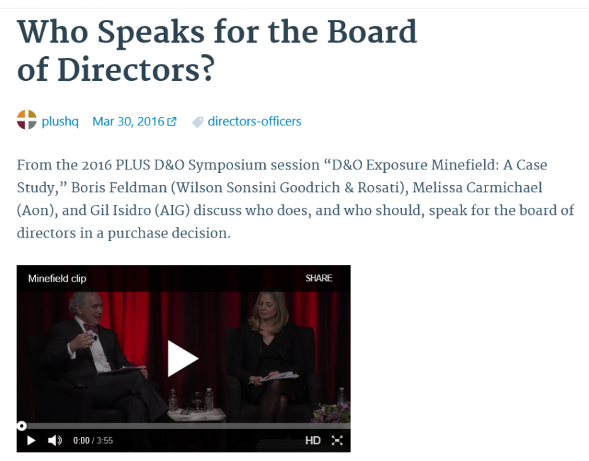 Who speaks for the board on D&O coverage