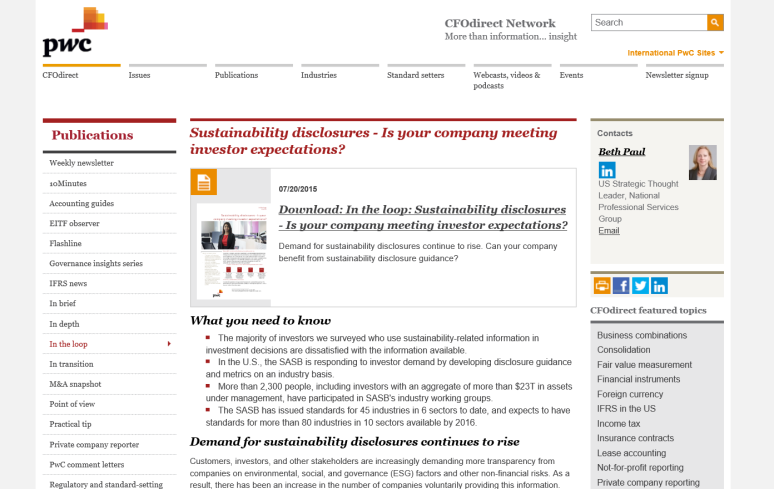PWC Sustainability Disclosure Guidance